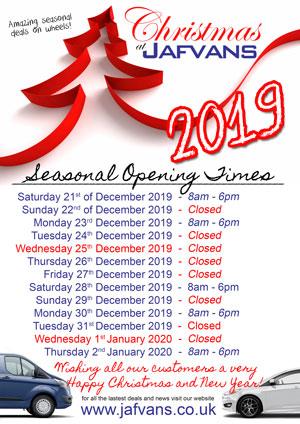 Jafvans Car and Van Rentals Christmas 2017 Opening Hours